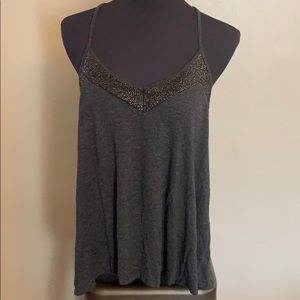 Express Charcoal V Neck Tank with Gold Accent L